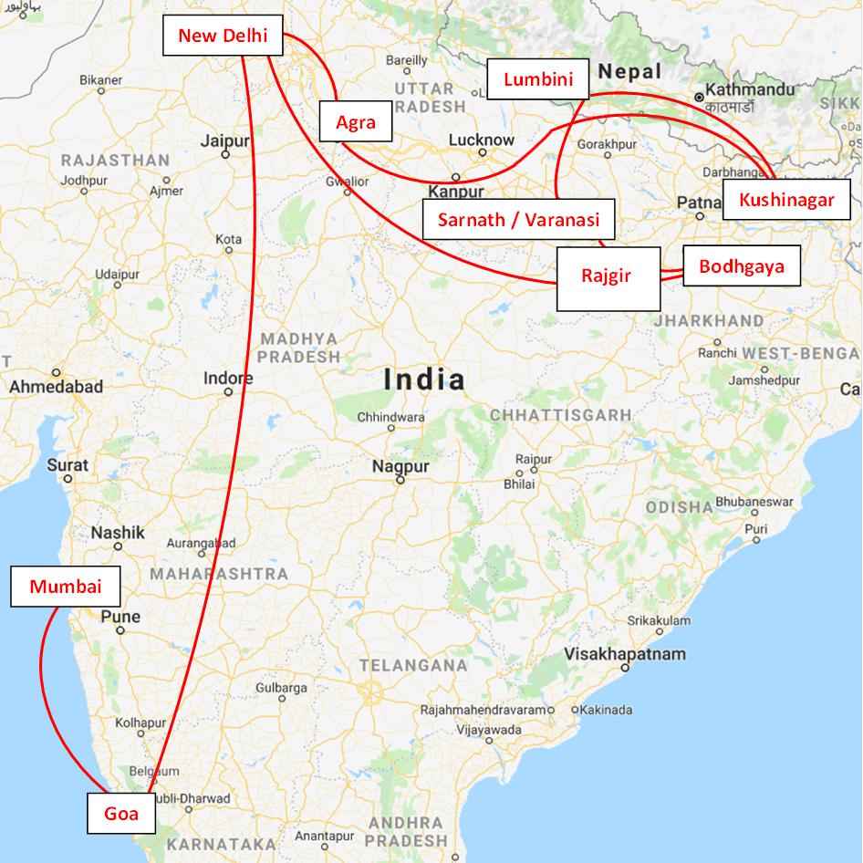 Kaart India-reis